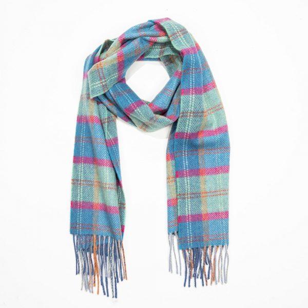 Irish Wool Scarf Short. Blue, Mint, Pink, Check