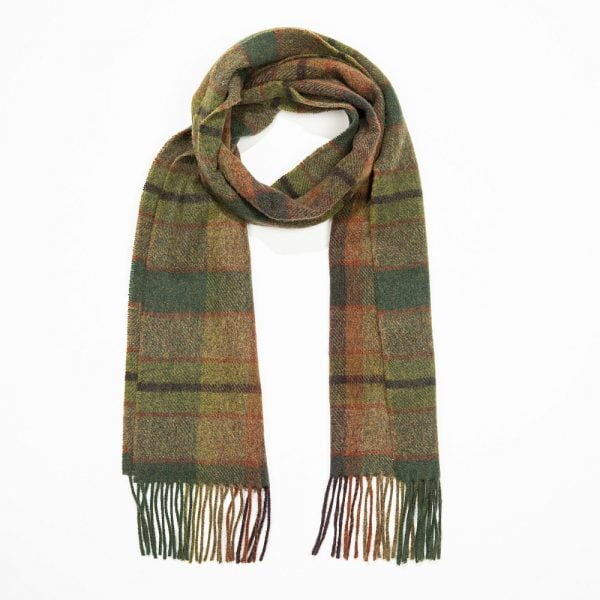 Irish Wool Scarf Short  Green Earthy Check