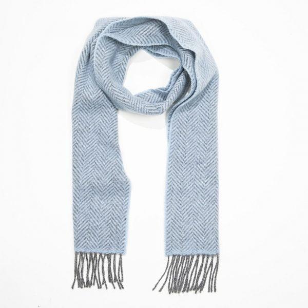 Irish Cashmere Merino Scarf Sky Blue Grey Herringbone
