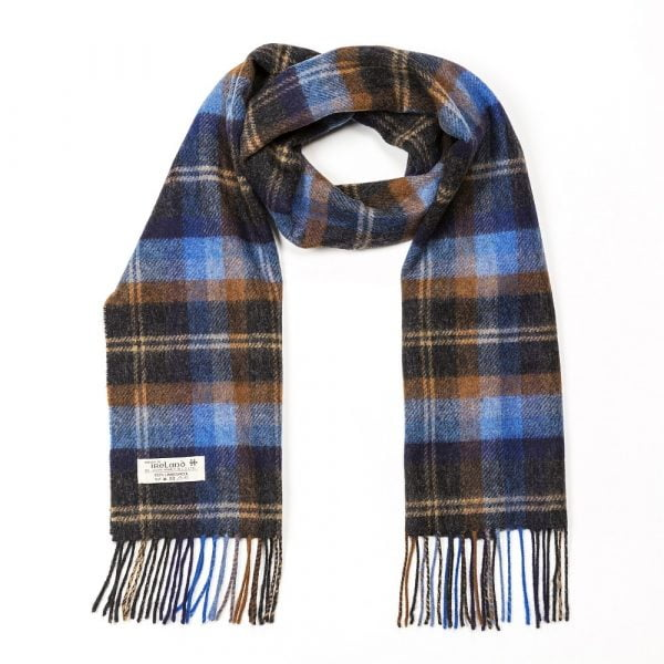 Irish Wool Scarf Short Blue and Orange Mix Check