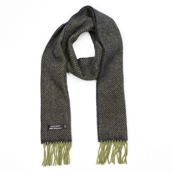 Irish Cashmere Merino Scarf Green Charcoal Herringbone