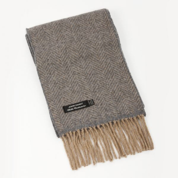 Cashmere Merino Scarf Beige and Mid Grey Herringbone