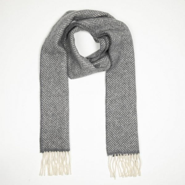 Irish Cashmere Merino Scarf Grey Herringbone