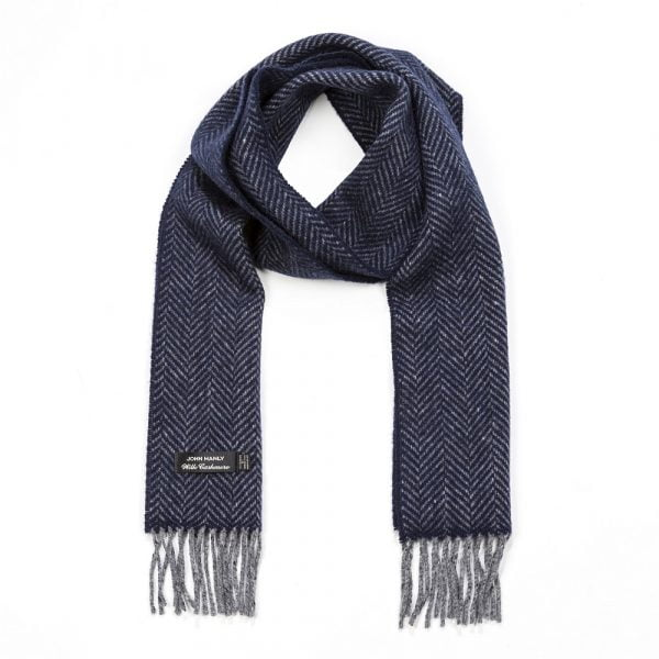 Irish Cashmere Merino Scarf Grey & Navy Herringbone