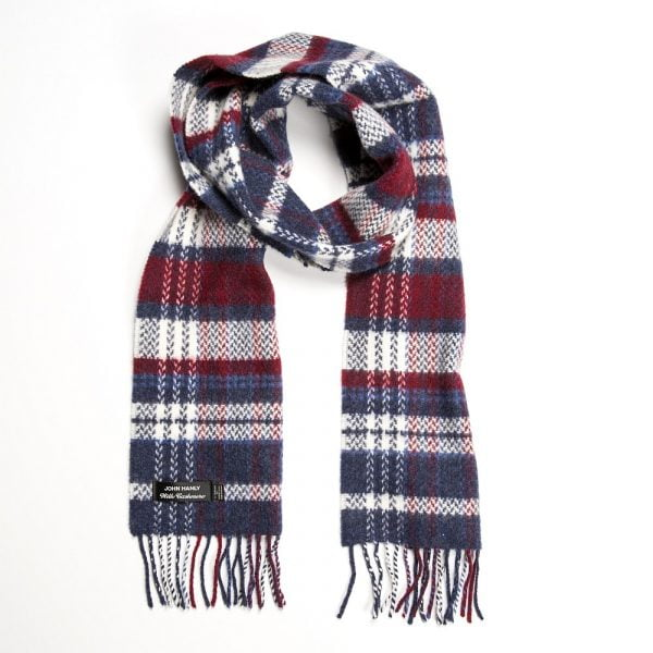 Irish Cashmere Merino Scarf Denim White Maroon Check