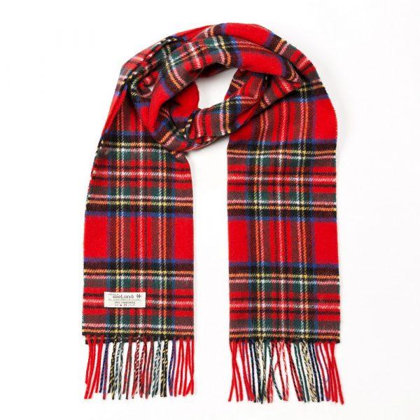 Irish Wool Scarf Short Red Royal Stewart Tartan