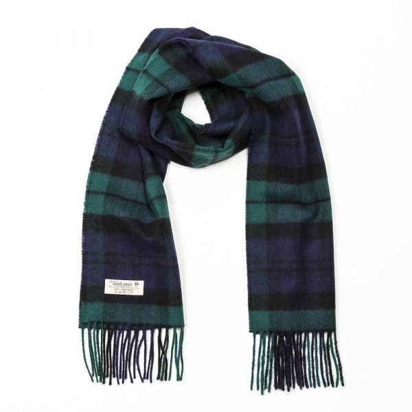 Irish Wool Scarf Short Black Watch Tartan
