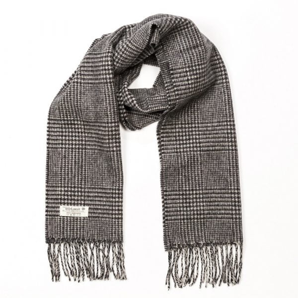 Irish Wool Scarf Short Black and White Glencheck