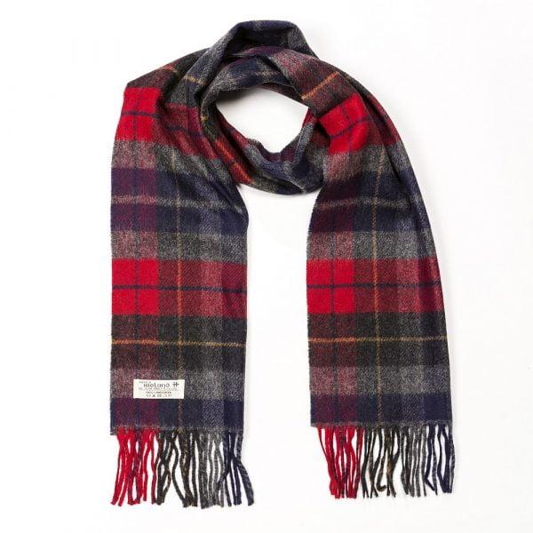 Irish Wool Scarf Short Charcoal Red Tartan