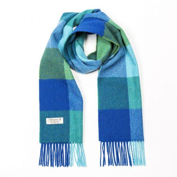 Irish Wool Scarf Short Blue Mix Block Check