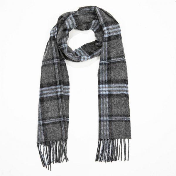 Irish Wool Scarf Short Charcoal Black Blue Check