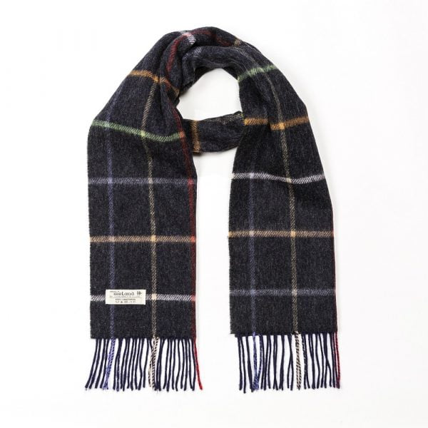 Irish Wool Scarf Short Charcoal and Multicoloured Window Pane