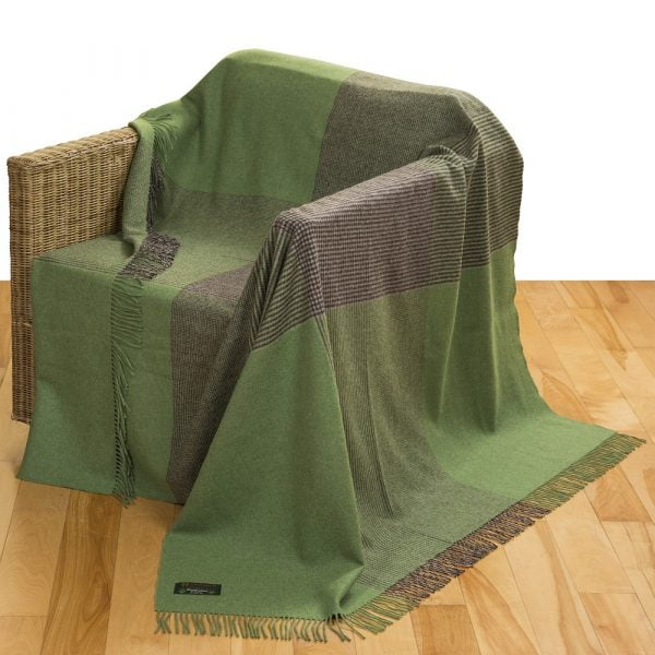 Merino Lambswool Blanket Green & Grey Glencheck