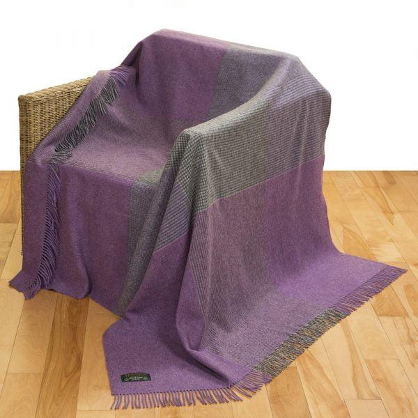 Merino Lambswool Blanket Heather Grey  Black Glencheck