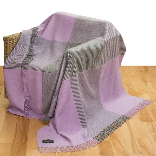 Merino Lambswool Blanket Crocus Grey Check Glencheck