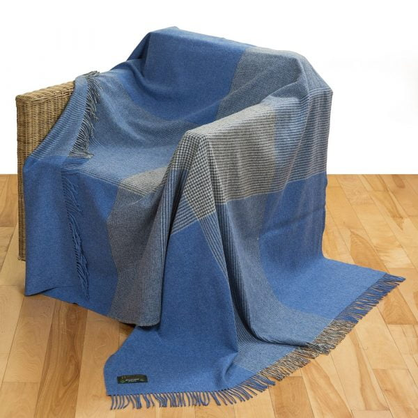 Merino Lambswool Blanket Denim Blue Grey Block Glen Check