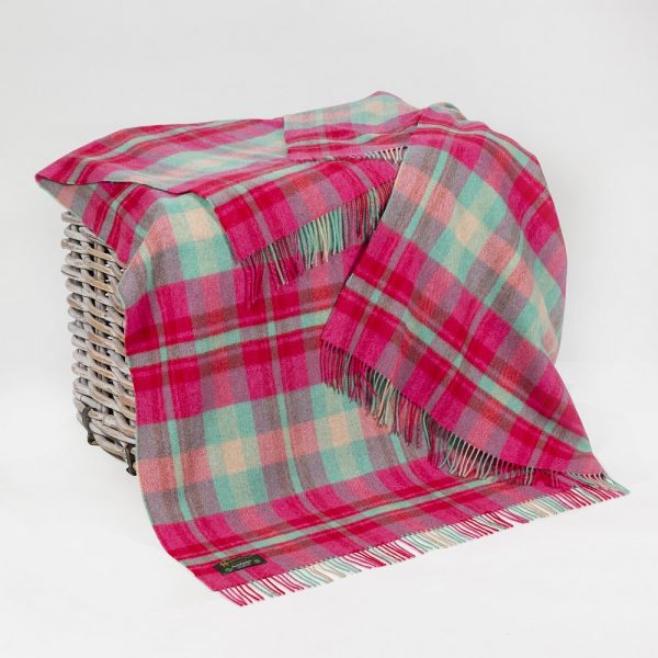 Merino Lambswool Blanket Bright Pink, Pale Green & Cream Check