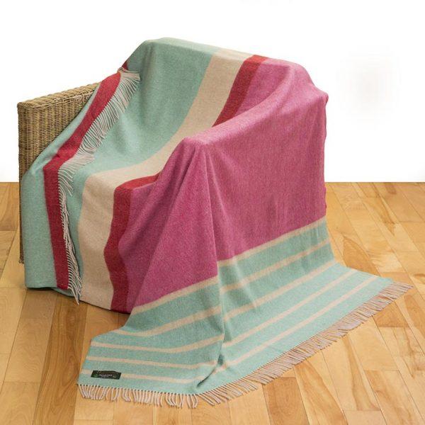 Merino Lambswool Blanket Pink Green Multi Stripe