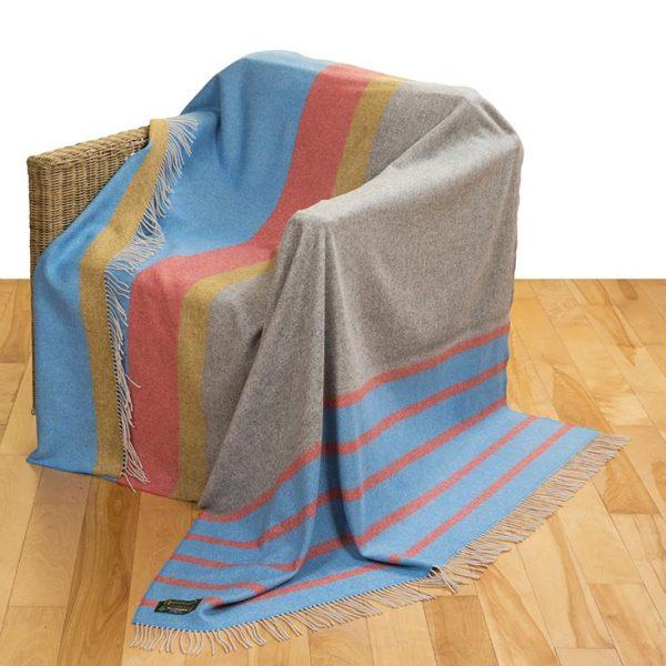 Merino Lambswool Blanket Turqoise Orange Grey and Mustard Stripe