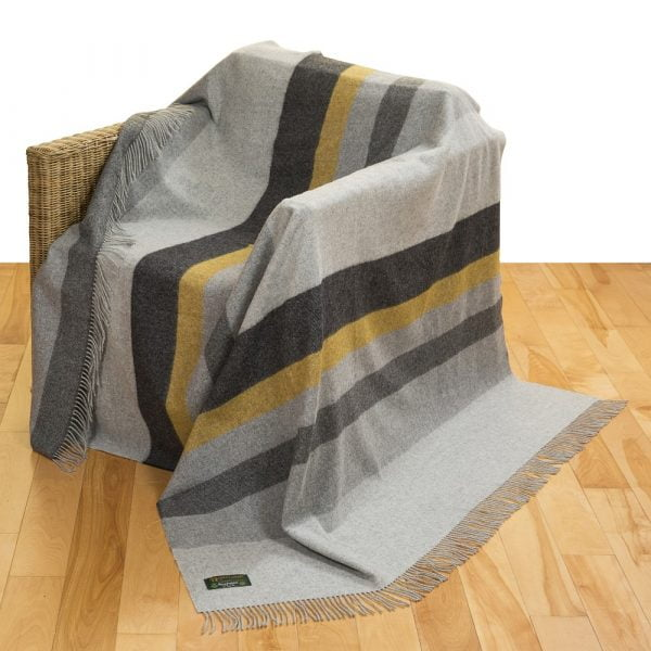 Merino Lambswool Blanket Grey Mix & Mustard Stripe