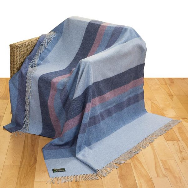 Merino Lambswool Blanket Blue Stripes