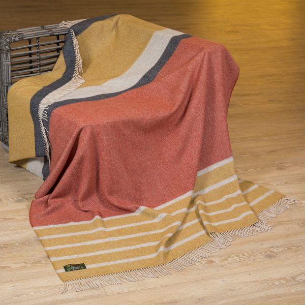 Merino Lambswool Blanket Mustard Orange and Charcoal Stripe
