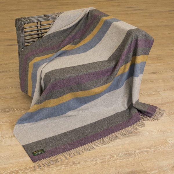 Merino Lambswool Blanket Multi Colour Beige Brown Orange Stripe