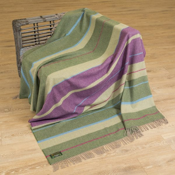 Merino Lambswool Blanket Multi Colour Green Purple Stripe