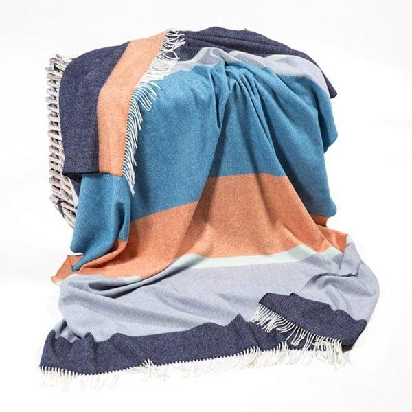 Merino Lambswool Blanket Blue Orange Turquoise Stripe