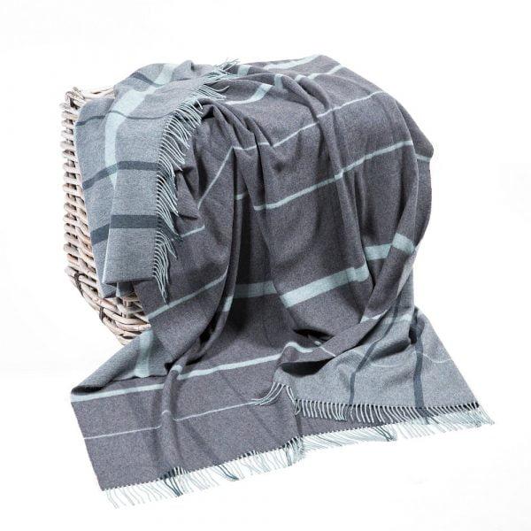 Merino Lambswool Blanket Grey & Duck Egg Check