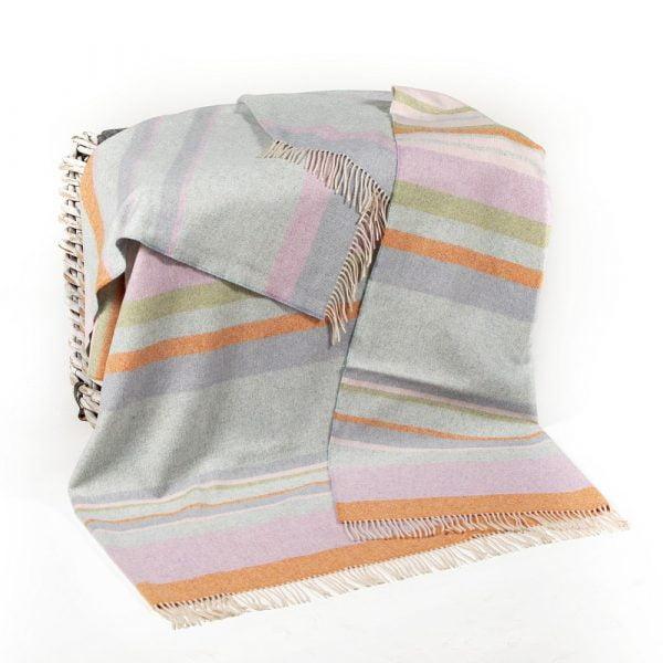 Merino Lambswool Blanket Duck Egg,  Baby Pink, Orange Green Stripe