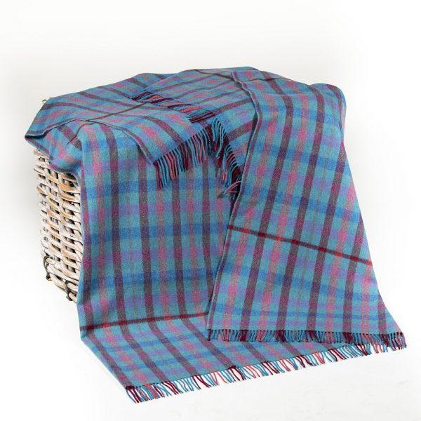 Merino Lambswool Blanket Blue Burgundy Pink Green Check