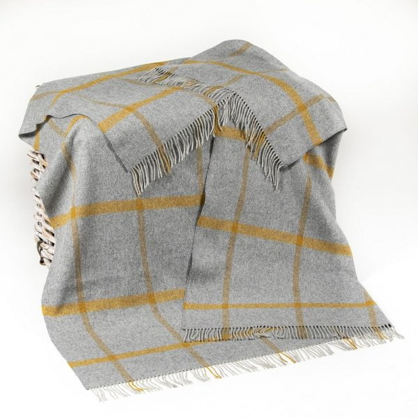 Merino Lambswool Blanket Grey Mustard Check