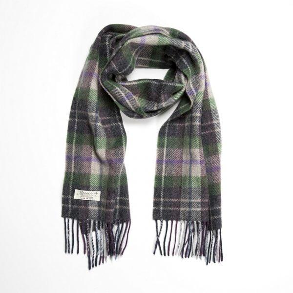 Irish Wool Scarf Short  Grey Green Beige