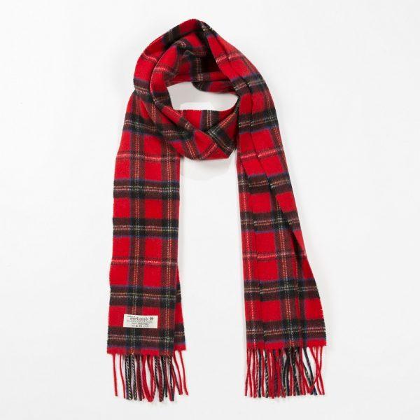 Irish Wool Scarf Medium Classic Red Tartan Check