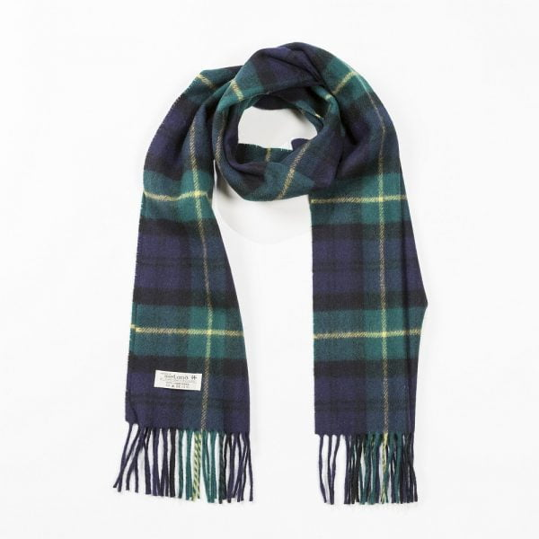 Irish Wool Scarf Medium Navy Green and Yellow Tartan