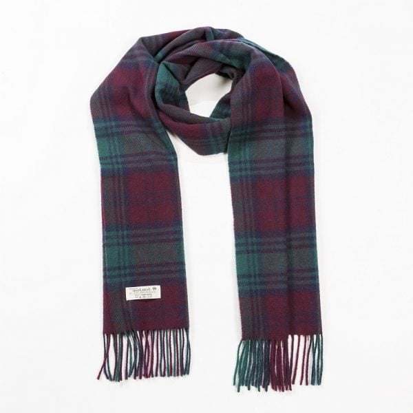 Irish Wool Scarf Medium Burgundy and Green Lindsay Tartan
