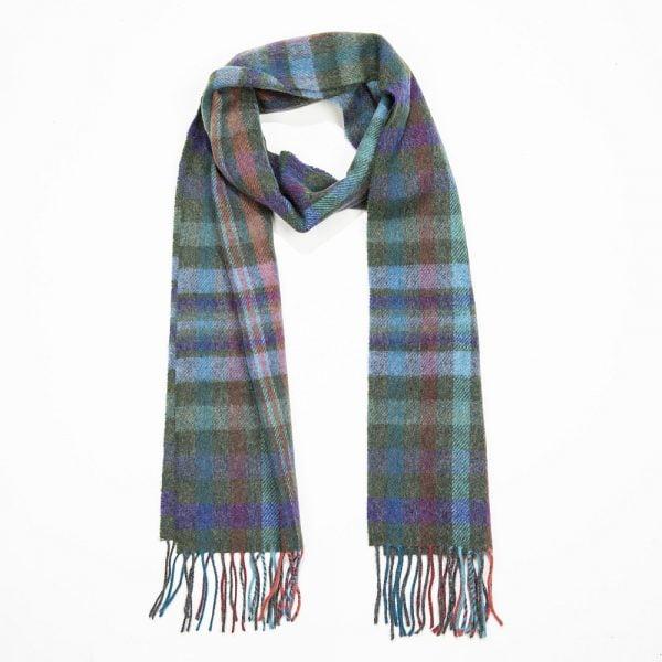 Irish Wool Scarf Medium Green Purple Blue Check
