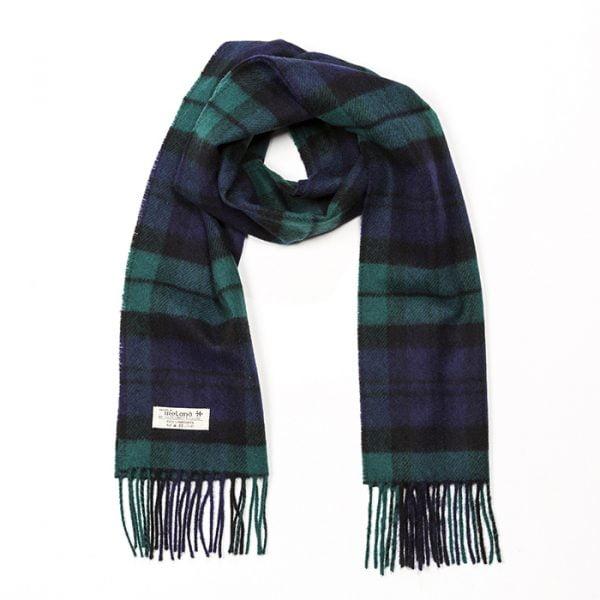 Irish Wool Scarf Medium Black Watch Tartan