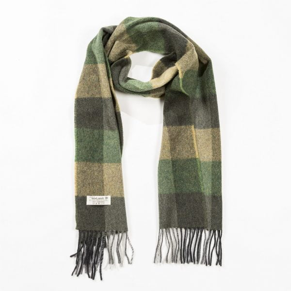 Irish Wool Scarf Medium Green Mix Block Check