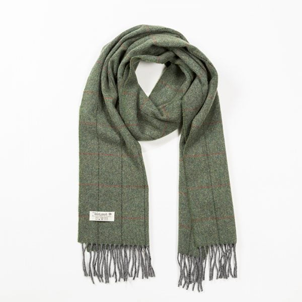 Irish Wool Scarf Medium Charcoal Grey Red Stripe