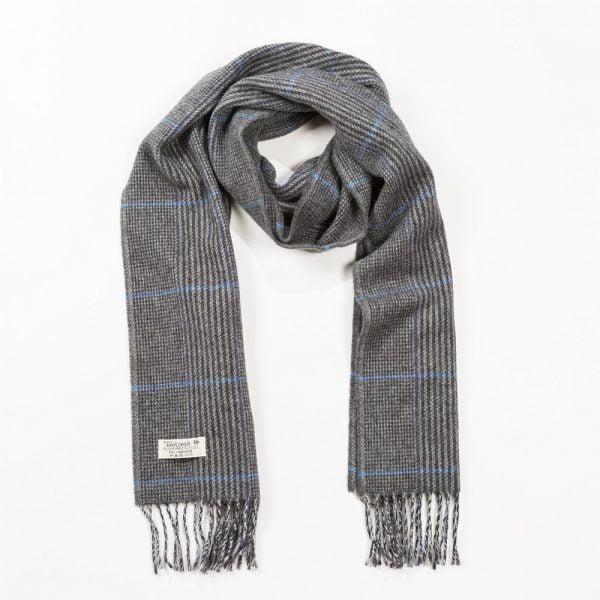 Irish Wool Scarf Medium Light Grey Charcoal Stripe