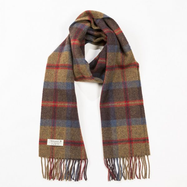 Irish Wool Scarf Medium Rust Brown Red Plaid