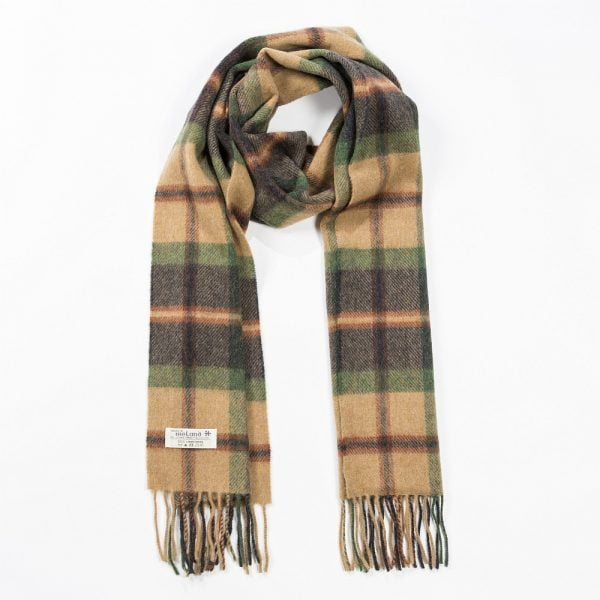 Irish Wool Scarf Medium Charcoal Beige Rust Plaid