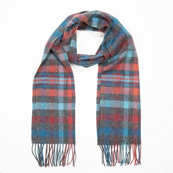 Irish Wool Scarf Medium Grey Aqua Pink Red Check