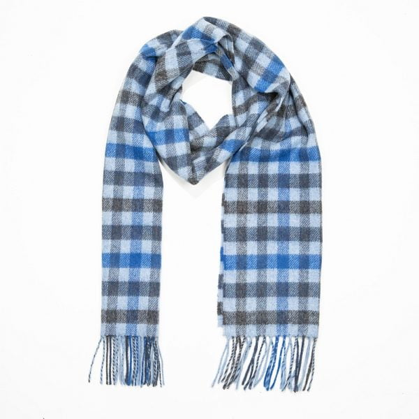 Irish Wool Scarf Medium Grey Blue Mix Check