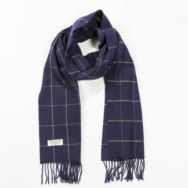 Irish Wool Scarf Medium Navy Windowpane