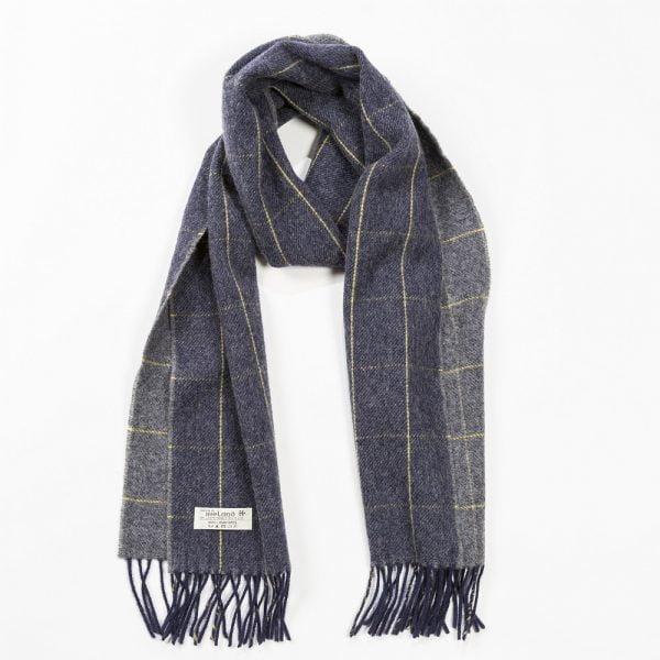 Irish Wool Scarf Medium Navy Grey Window Pane