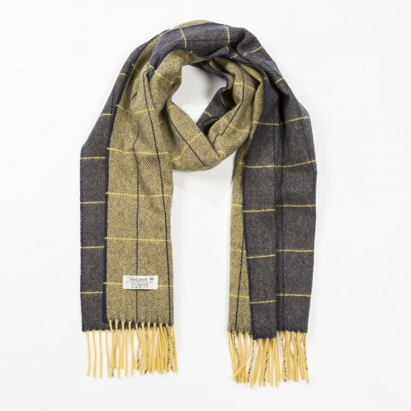 Irish Wool Scarf Medium Navy Yellow Window Pane