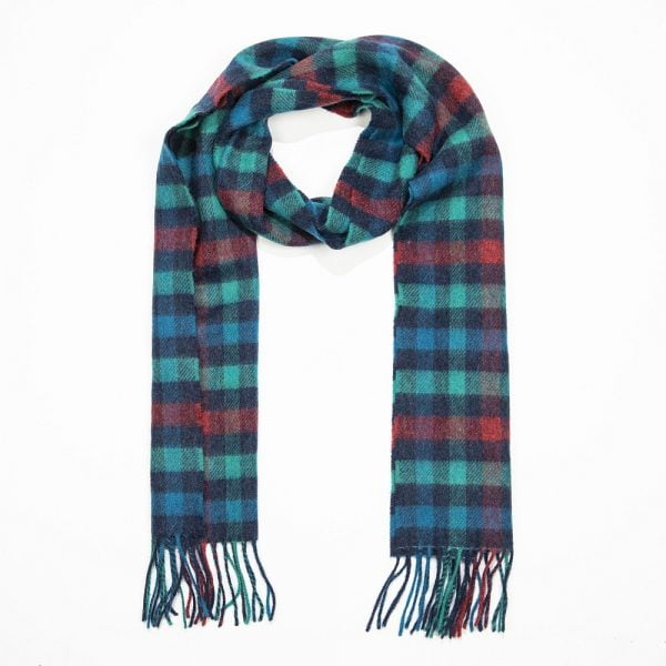 Irish Wool Scarf Medium Navy Green Red Check